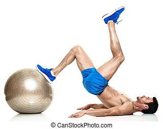 mann, fitness, übungen, freigestellt