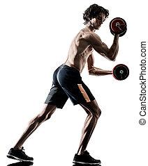 mann, fitness, weitghs, training, übungen, freigestellt, silhouette, weißes