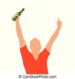 mann, flasche, abbildung, hand