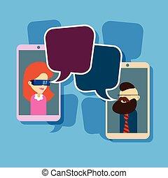 mann- frau, bild, zelle, klug, telefon, sozial, vernetzung, kommunikation, begriff, mit, unterhaltung, blase