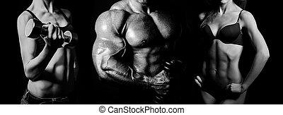 mann- frau, bodybuilding.