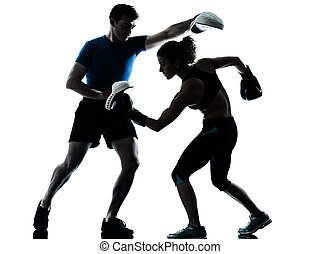 mann- frau, boxen, training, silhouette