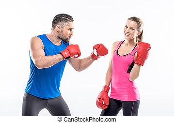 mann frau, in, boxhandschuhe