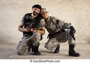 mann frau, militaer, personen