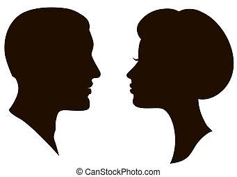 mann- frau, profile, gesichter