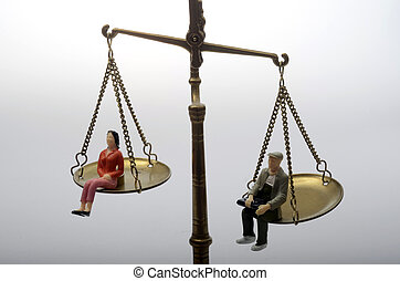 mann frau, sitzen, auf, goldenes, wiegend zeichnet maßstabgetreu