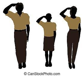 mann, frau, und, a, kind, silhouette, in, militaer, gruß, haltung