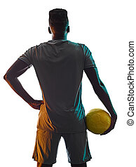 mann, freigestellt, spieler, hintergrund, junger, schatten, fußball, afrikanisch, weißes, silhouette