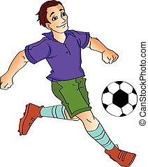 mann, fussballspielen, abbildung