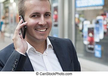 mann, gebrauchend, klug, telefon