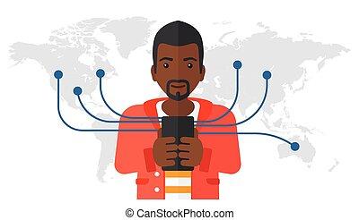 mann, gebrauchend, smartphone.