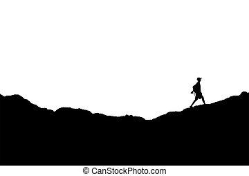 mann- gehen, an, berge, silhouette, abbildung