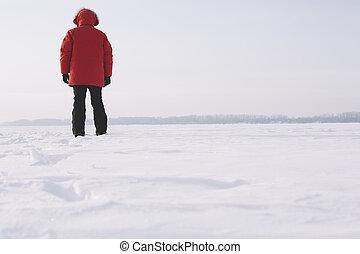 mann- gehen, auf, der, schnee