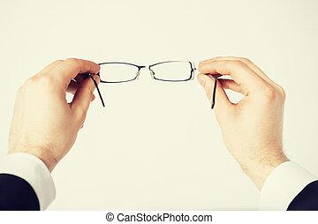 mann, hände, besitz, brille