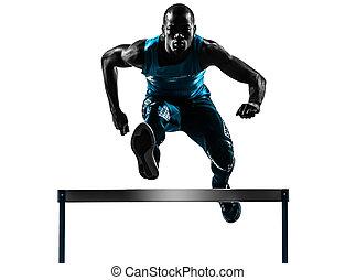 mann, hürdenläufer, läufer, silhouette