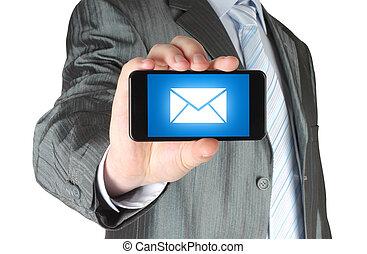 mann, halten mobile, klug, telefon, mit, nachricht, auf, schirm