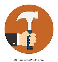mann, hammer, halten hand