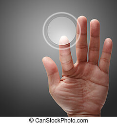 mann, hand, anschieben, auf, berührungsbildschirm, schnittstelle