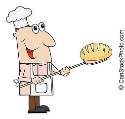 mann, hand, bread, küchenchef