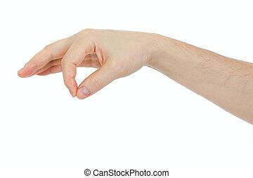 mann, hand holding, einige, sache, gegenstand, freigestellt,...