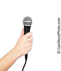 mann, hand holding, mikrophon, weiß, hintergrund