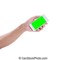 mann, hand holding, smartphone, mit, grün, schirm, weiß, backgroun