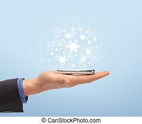 mann, hand, mit, smartphone