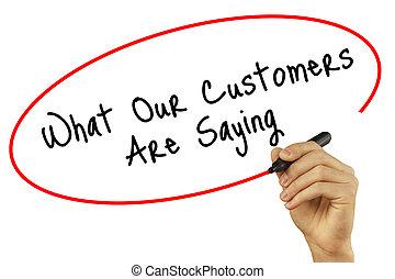 mann, hand schreiben, was, unser, kunden, ar, spruch, mit, schwarz, markierung, auf, visuell, screen., freigestellt, weiß, hintergrund., geschaeftswelt, technologie, internet, concept., bestand, foto
