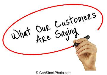 mann, hand schreiben, was, unser, kunden, ar, spruch, mit, schwarz, markierung, auf, visuell, screen., freigestellt, auf, hintergrund., geschaeftswelt, technologie, internet, concept., bestand, foto