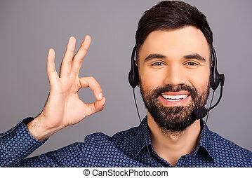 """mann, head-phones, lächeln glücklich, """"like"""", gesturing"""