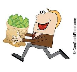 mann, heiter, geld, rennender