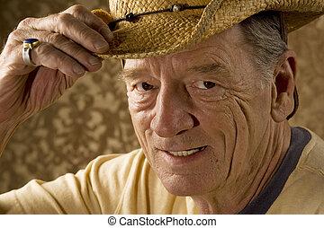 mann, in, a, cowboyhut