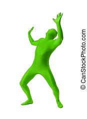 mann, in, a, grün, körperklage