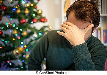 mann, in, einsamkeit, gefühl, anfällig, zu, depressionen,...