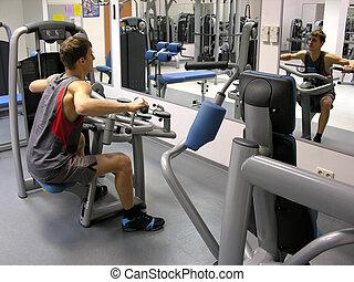 mann, in, fitnesscenter