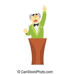 mann, in, grüne jacke, stehen, der, tribun, und, zeigen, seine, finger, auf