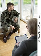 mann, in, militärische uniform