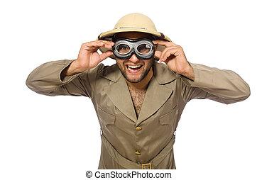 mann, in, safari, hut, mit, schwimmbrille, weiß