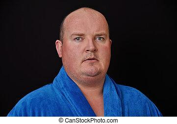 mann, in, seine, 30\'s, übergewichtige , auf, schwarzer hintergrund
