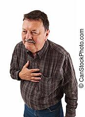 mann, in, seine, sechziger, haben, brust schmerz