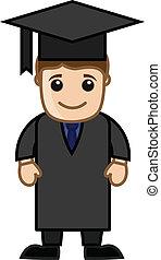 mann, in, studienabschluss, kleiden