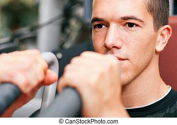 mann, in, turnhalle, trainieren