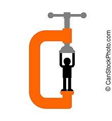mann, isolated., concept., klammer, beanspruchen, laster, kopf