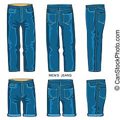 mann, jeans, hose, und, kurze hosen