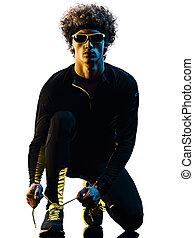 mann, jogger, rennender , läufer, hintergrund, freigestellt, jogging, silhouette, youg, weißes