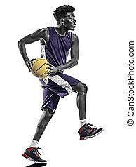mann, junger, freigestellt, basketball, afrikanisch, hintergrund, spieler, weißes