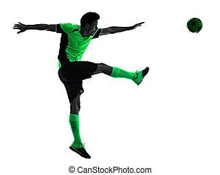 mann, junger, silhouette, freigestellt, hintergrund, spieler, weißes, schatten, fußball