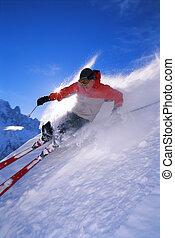 mann, junger, ski fahrend
