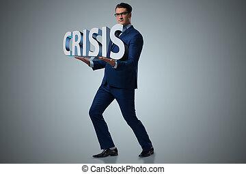 mann, kämpfen, mit, krise, in, geschäftskonzept