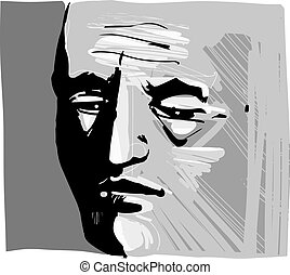 mann, künstlerisch, zeichnung, abbildung, gesicht